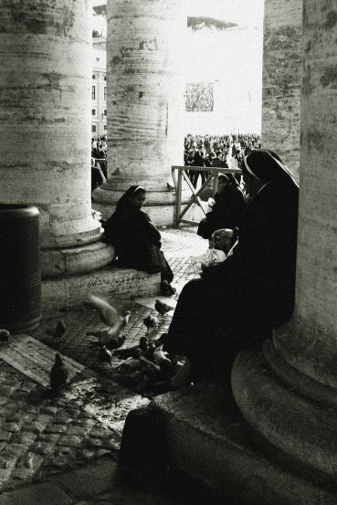 Feeding birds in Vatican
