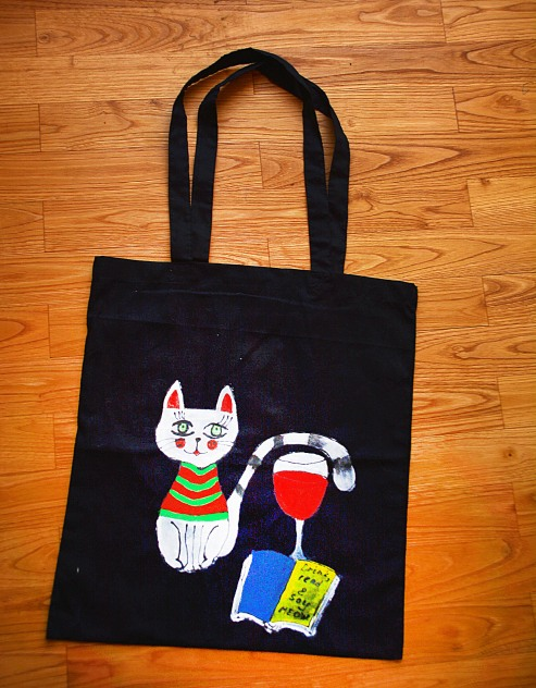 "Artwork Bag ""Drink, Read and Say Miow"""