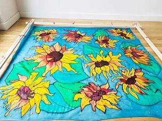 "Artwork Silk Shawl ""Sunflowers"""