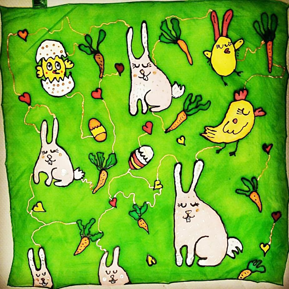 """Artwork Silk Shawl """"Easter"""""""